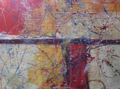 Zippidy-Doo-Dah-Encaustic-on-Wood-Panel by Pat Whittle